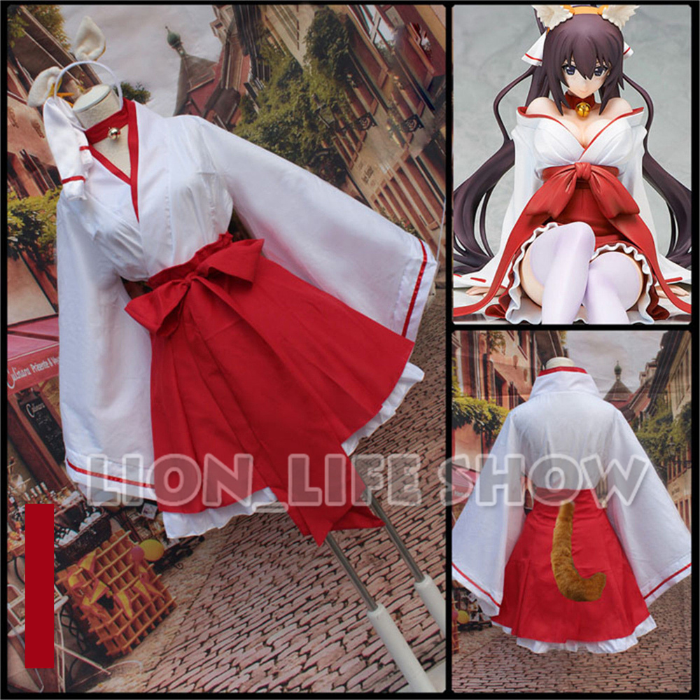 Anime Inu x Boku SS Cosplay Costume Japanese Kimono Red & White Fancy Dress Uniform