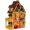 Diy Кукольный Дом с Мебелью Ручной Работы Модель Строительство Комплекты 3D Вилла Миниатюрный Деревянный Кукольный Домик Игрушка Подарки для Детей/Взрослых