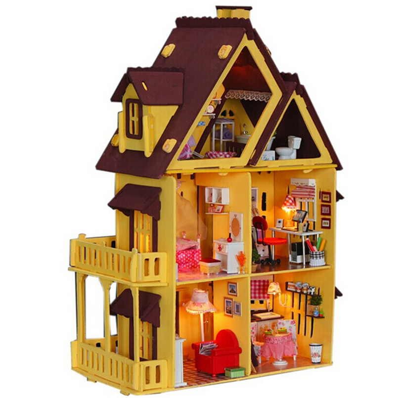 Diy doll house with furniture handmade model building kits for Building model houses