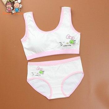 25c1b1ea1 Deporte adolescente ropa interior sujetador conjunto de dibujos animados ropa  interior de los niños de algodón chicas jóvenes formación Bras inalámbrico  ...