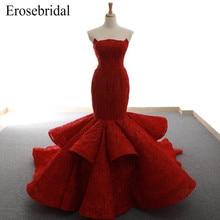 2019 Evening Dress Red Color Lace Mermaid Elegant Strapless robe de soiree Up Back Tiered Gown Vestido De Festa