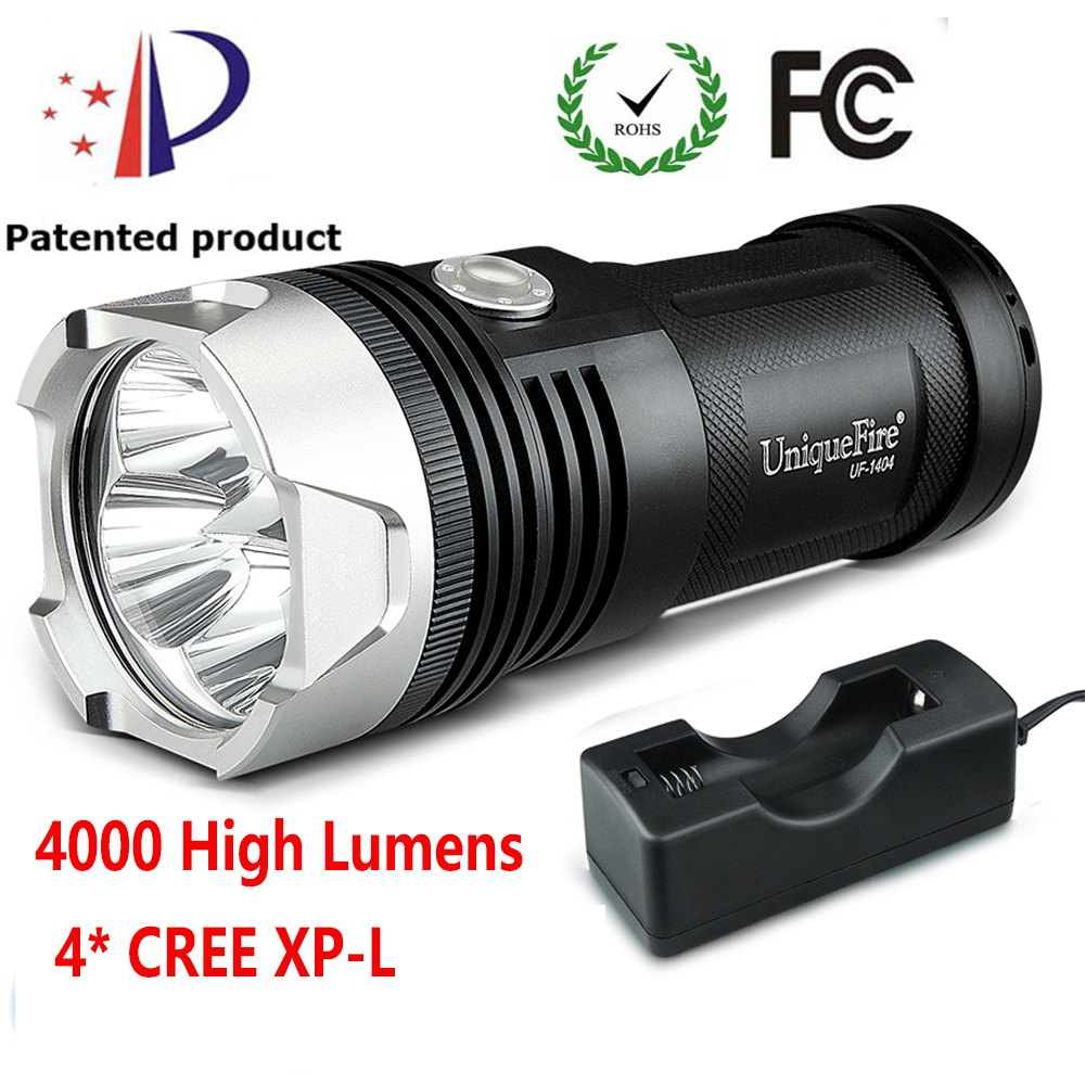 Uniquefire 1404 4*CREE XP-L 4000 Lumens Flashlight 10W 3 Modes Rechargeable Lampe Torch+Charger For Emergency, Camp, uniquefire uf v6 long handle flashlight 1100lm cree xml 5 modes super bright white light flashlight torch for emergency patrol