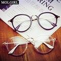 MOLGIRL 2016 Homens Das Mulheres Do Vintage Rodada Armações de Óculos Retro Quadro Vidros Ópticos Óculos Goggle Oculos De Vidro Luz