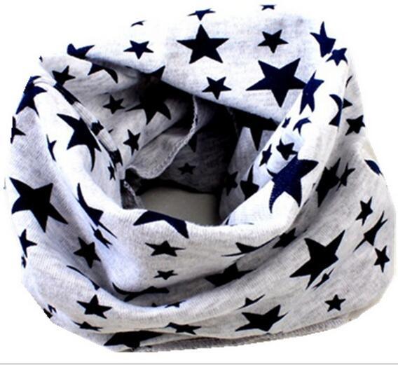 Новинка; сезон осень-зима; шарф из хлопка для девочек; Детский шарф; нагрудный шарф для мальчиков и девочек с круглым кольцом; милый детский шарф с воротником; Bufandas - Цвет: gray star