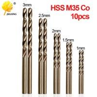 JIGONG 10 sztuk/zestaw zestaw wierteł spiralnych HSS M35 Co wiertła 1mm 1.5mm 2mm 2.5mm 3mm używane do stal nierdzewna w Wiertła od Narzędzia na