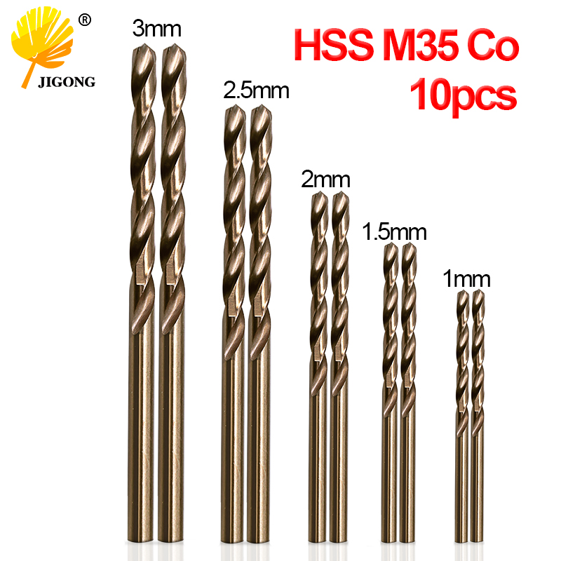 JIGONG 10pcs/Set Twist Drill Bit Set HSS M35 Co Drill Bit 1mm 1.5mm 2mm 2.5mm 3mm used for Steel Stainless Steel sheffield high quality drill bit set high speed steel with co twist drill hss m35 cobalt steel alloys material 1mm 13mm