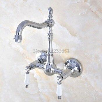 Chrome Wall Mount 2 Handles Kitchen Sink Bathroom basin Faucet mixer tap  lnf574