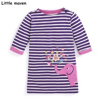 Little Maven Kids Dresses For Girls Autumn Baby Girls Clothes Cotton Striped Elephant Embroidered Straight Dress