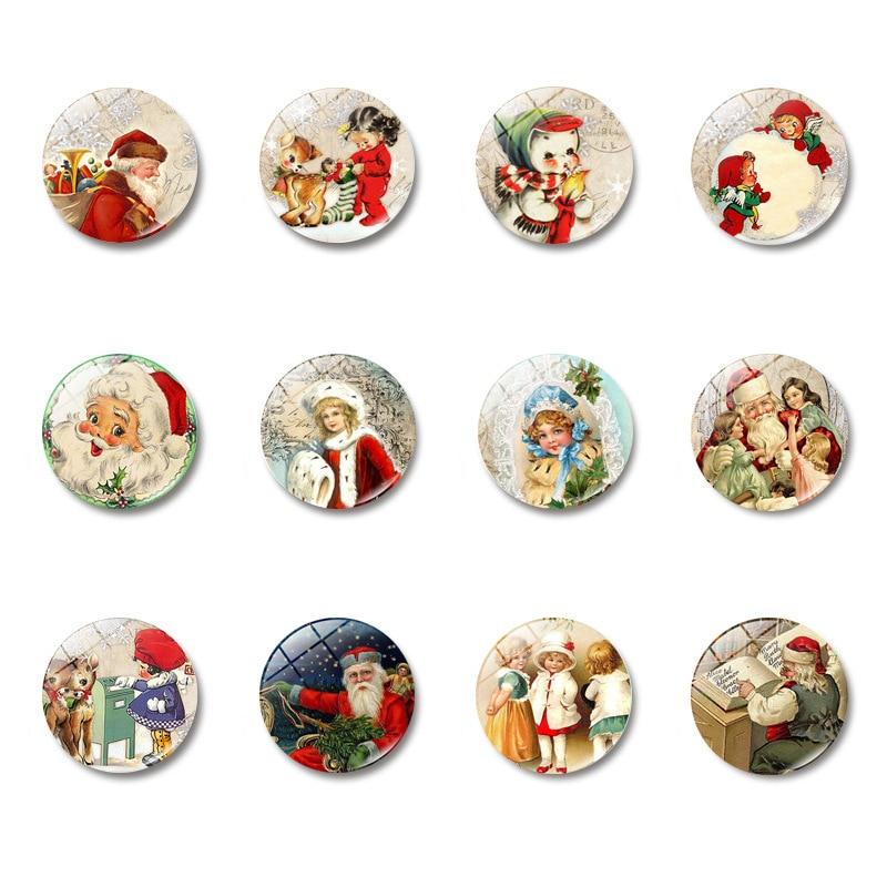 10PCS  Sell like Hot Cakes Christmas Old Man Elk Time Gem Magnetic Glass Fridge Magnet 25mm Cartoon Multiple sticker