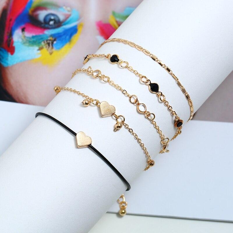 5PCS Set Ankle Bracelet Chains Gold Heart Love Charms Bohemian Boho Leg Bracelets For Women Anklet Foot Accessories Vintage 2019