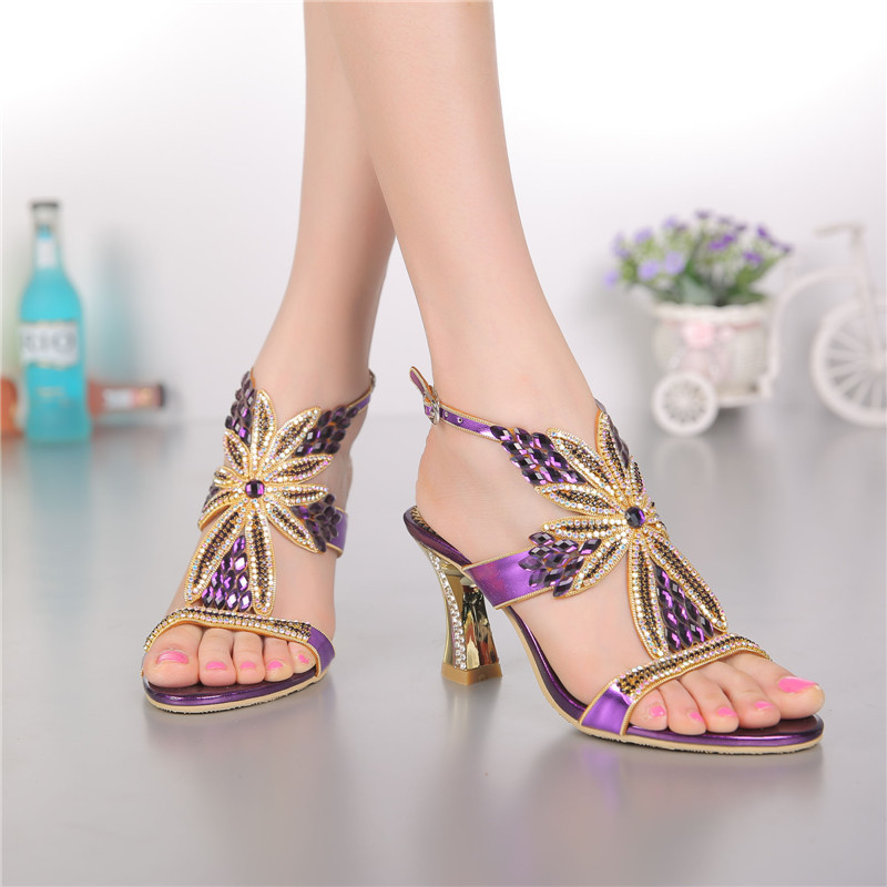Spring And Summer Diamond Hollow Sexy High Heeled Leather Sandals Female Wedges Women Shoes High Quality