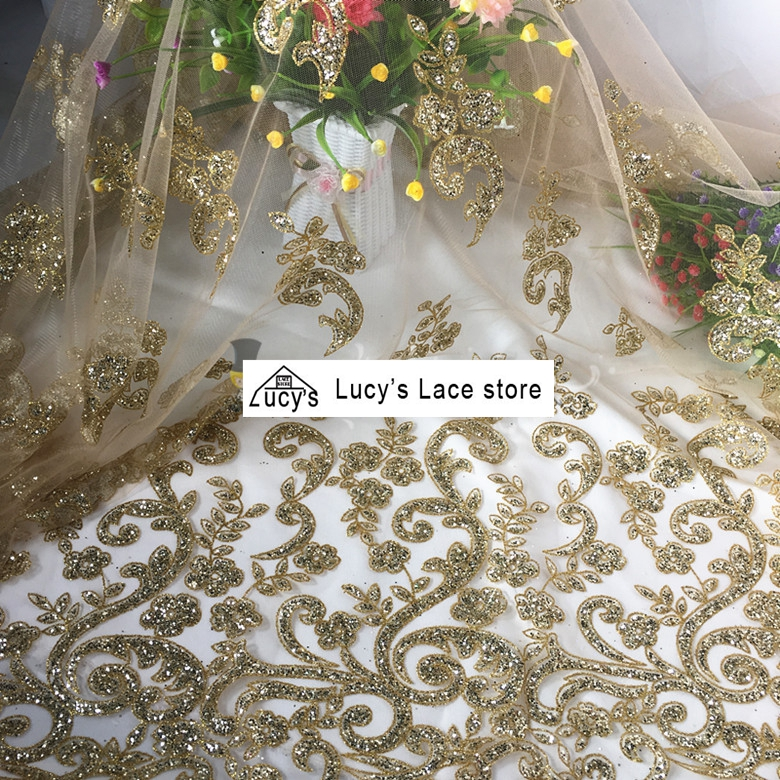 1 Yard Gold Sequins Fabric 2018 NEW Shiny Glitter Tulle Lace Fabric Material