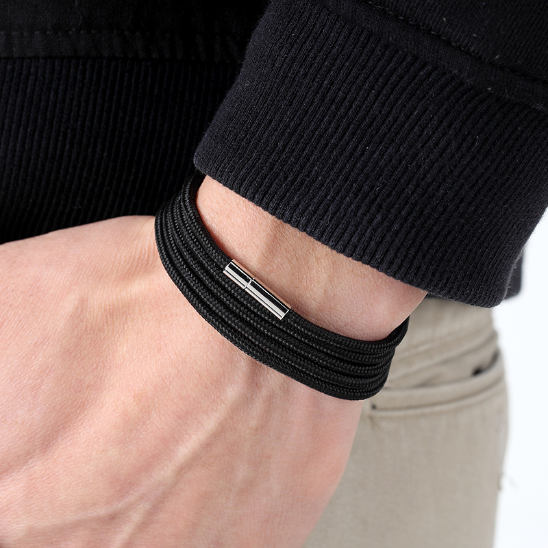 LIVVY 2018 Wholesale Black Bracelet Bohemian Rope Channel Jewelry Leather Bracelet Punk Casual Men's Jewelry