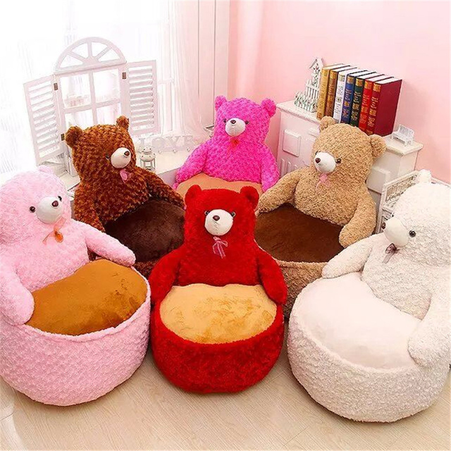 Fancytrader Pop Anime Teddy Bear Chair Toys Huge Stuffed Soft Animals Bears Sofa Cushion For Kids