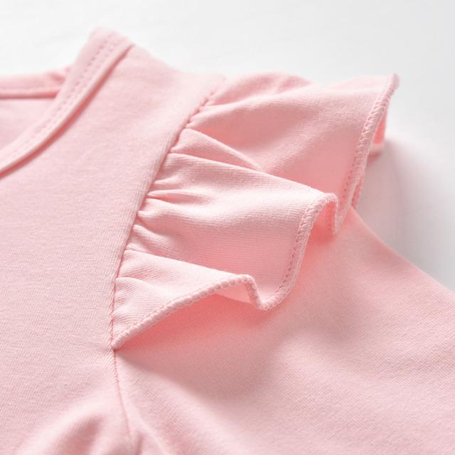 3Pcs Newborn Baby Girl Clothes Pink Sleeve Ruffle Tops+Geometric Pants+Headband Infant Toddler Baby Girls Clothing Set