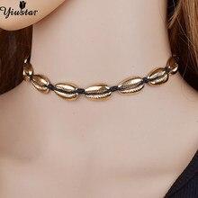 47ef3db547cd Yiustar Color oro de moda deseo conchas collar de las mujeres negro elegante  cadena de cuerda