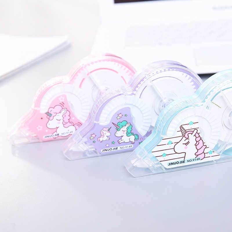 30 m 5mm צבע אקראי קריקטורה חד קרן מתקן תיקון קלטת רולר לבן מדבקת מכתבים מחקר משרד לילדים בית ספר אספקה