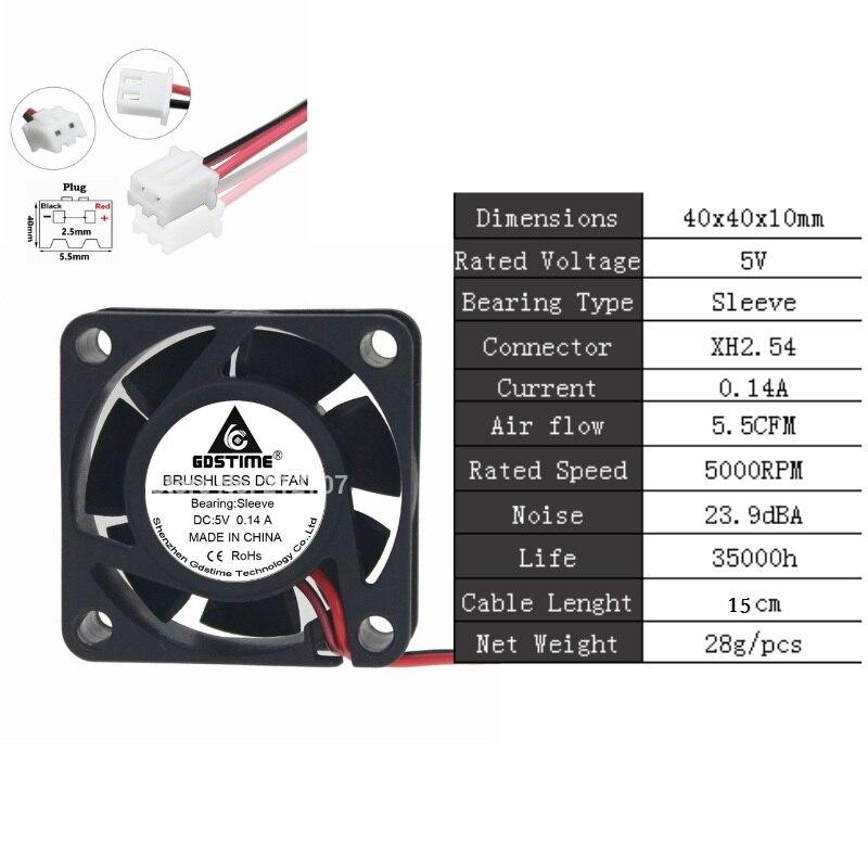 Gdstime 2 шт. 24 в 12 В 5 в 40 мм x 10 мм маленький осевой кулер 4 см 2Pin шарикоподшипник DC бесщеточный вентилятор охлаждения 40x40x10 мм 4010 3Pin - Цвет лезвия: 5V Sleeve 0.14A