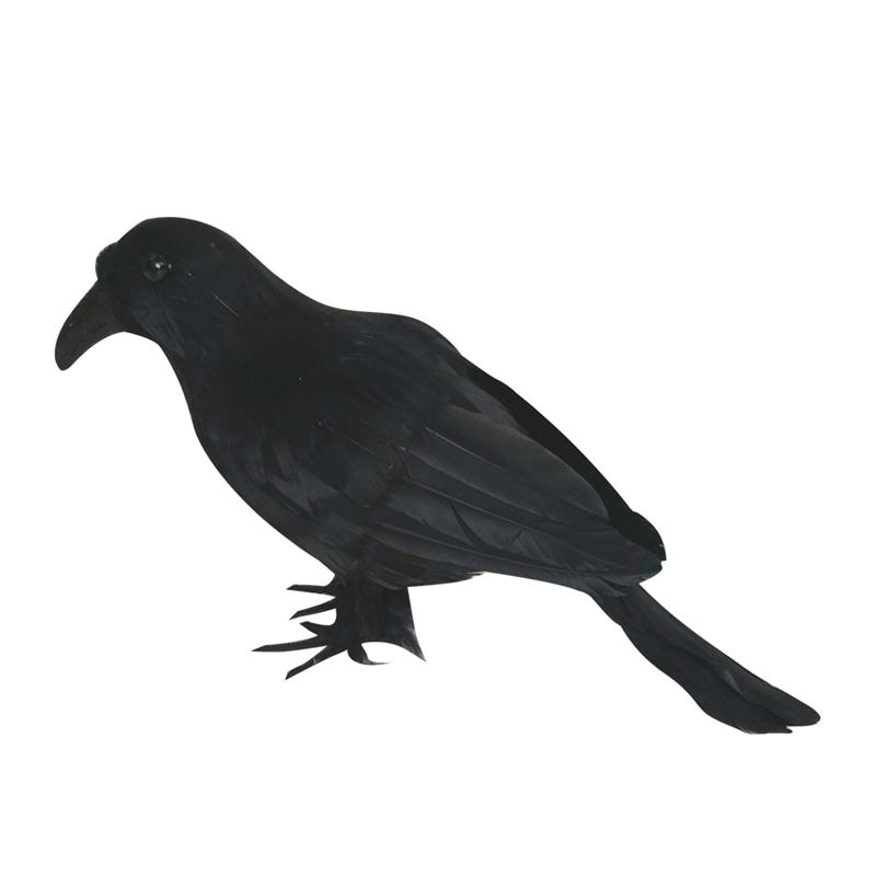 Artificial crow black bird raven prop decor for halloween for Artificial birds for decoration