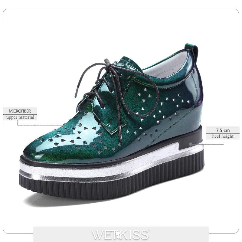 Wetkiss/модные повседневные туфли на плоской подошве Для женщин квадратный носок клинья из искусственной лакированной кожи с вырезами обувь ...