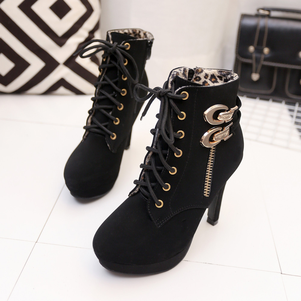 2018 New boots women Sexy High Heels Platform Ankle Boots Thin Heel Lace-Up Boots Shoes Ladies Shoes dropshipping цены онлайн