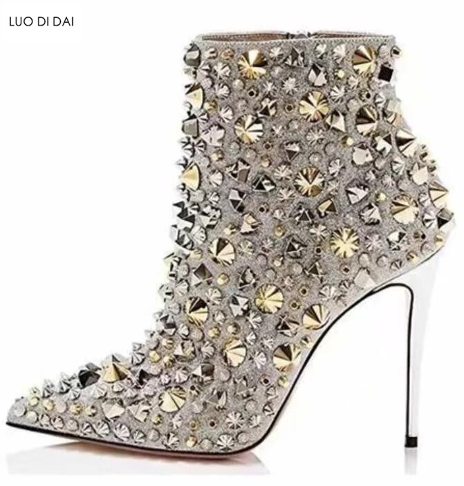 2019 ladies ankle boots point toe sliver sequin boots zip up motorcycles  booties thin heel party 8bef11e306e3