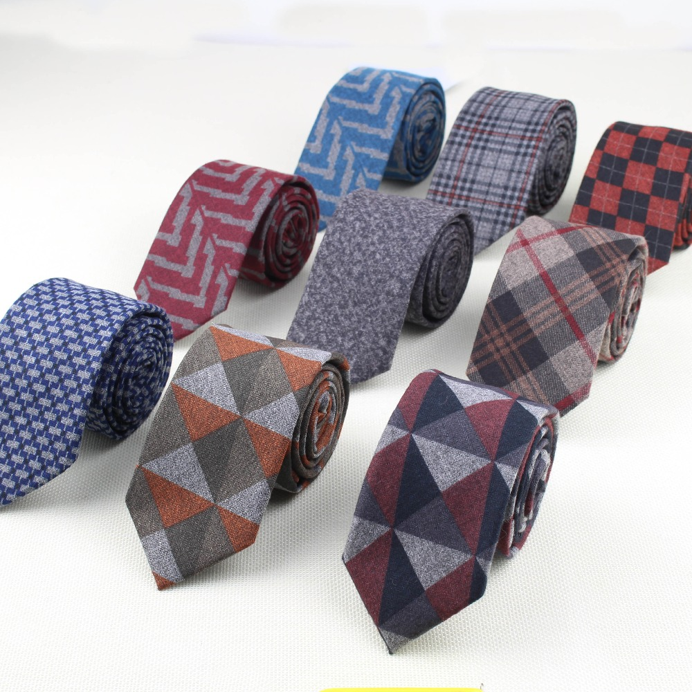 Soft Mens Fashion Diamond Check Artificial Wool Cotton Striped Skinny Tie Men Business Small Ties Designer Cravat Dark Color