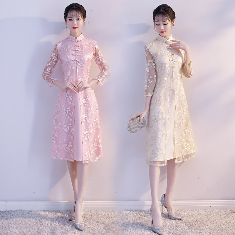 Short Sleeve Lace Modern Cheongsam Oriental Dresses Vintage Chinese Traditional Dress Lady Qipao Wedding Party Clothing 90