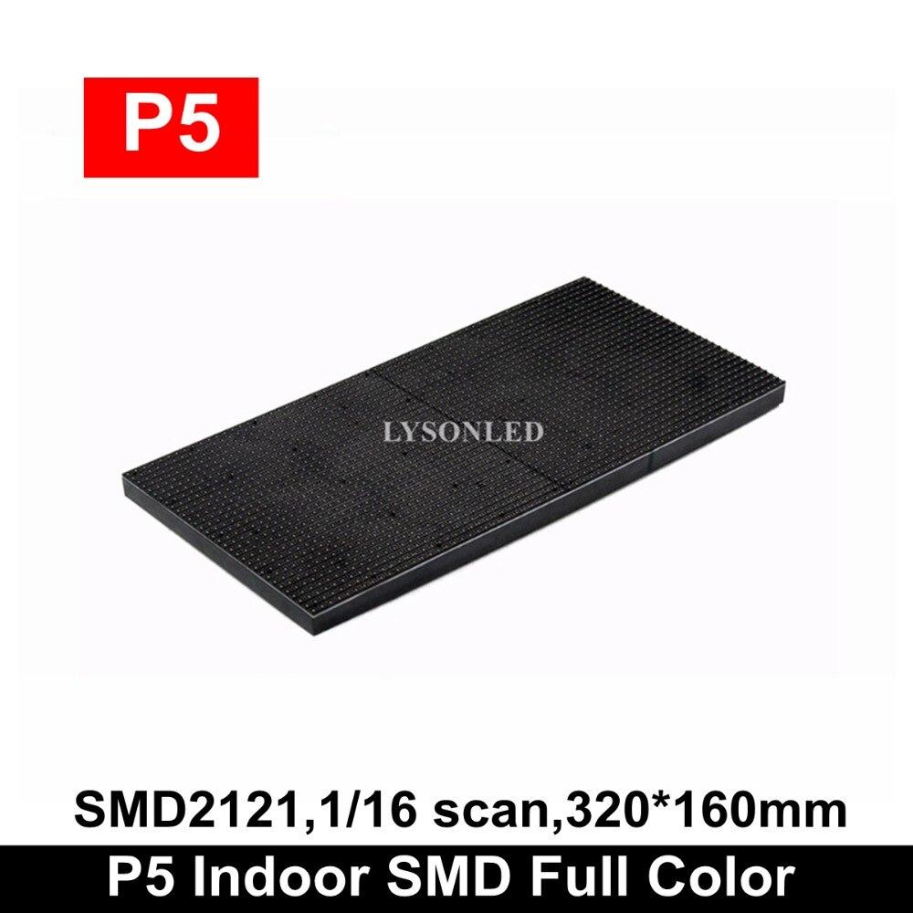 LYSONLED Indoor SMD2121 RGB 1/16 Scan P5 LED Module 320x160mm 64x32 Pixels, Hd LED Video Wall RGB P5 LED Display Panel 32x16cm