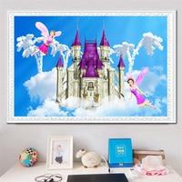 Youran 5d Diamond Painting Cross Stitch Full Diamonds Fairy Princess Cartoon Girl Castle Mosaic Kids Bedroom Painting Home Decor