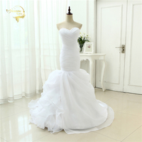 White Organza Simple Elegant Mermaid Vestidos De Noiva Robe De Mariage Bridal Gown Ruffles Wedding Dresses
