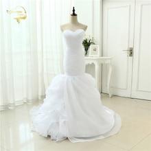 Putih Organza Sederhana Elegan Mermaid Pernikahan & De Noiva Jubah De Mariage Bridal Gown Ruffles Wedding Dresses 2015 Casamento YN3990
