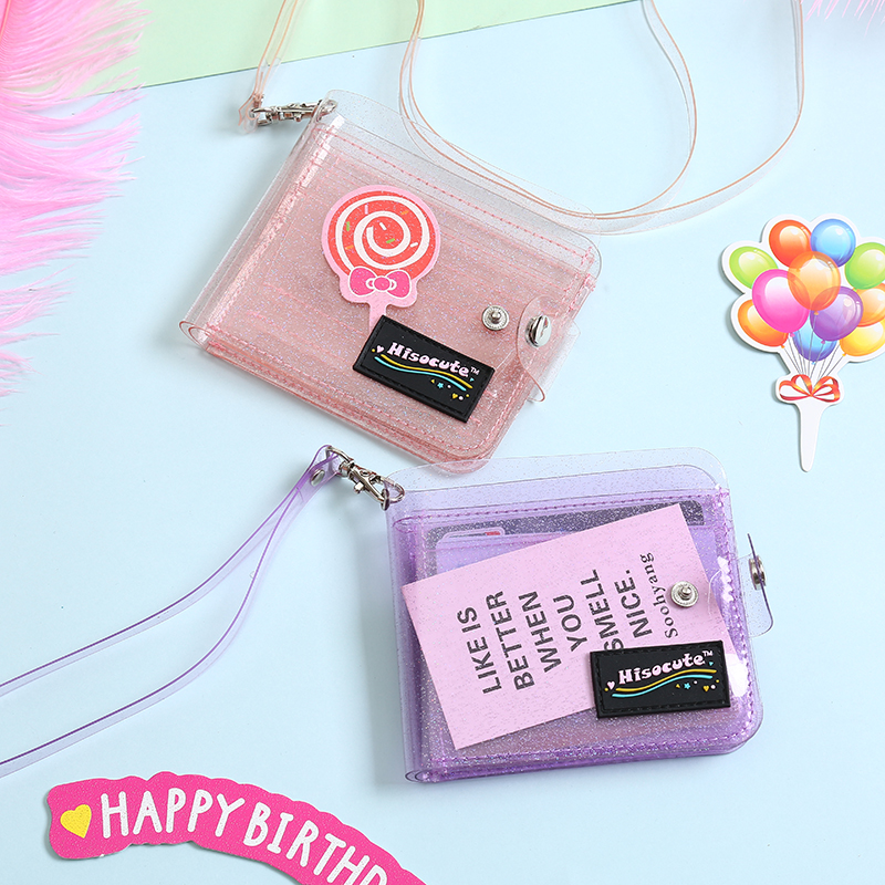 Summer PVC Credit Card Holder With Belt Women Transparent Letter Small Wallet Laser Hasp ID Business Card Bag Girl Square Purse
