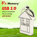 usb flash drive silver color pendrive 64GB 8GB 16GB 32GB lovely house u disk pen drive  house flash disk 2016 model