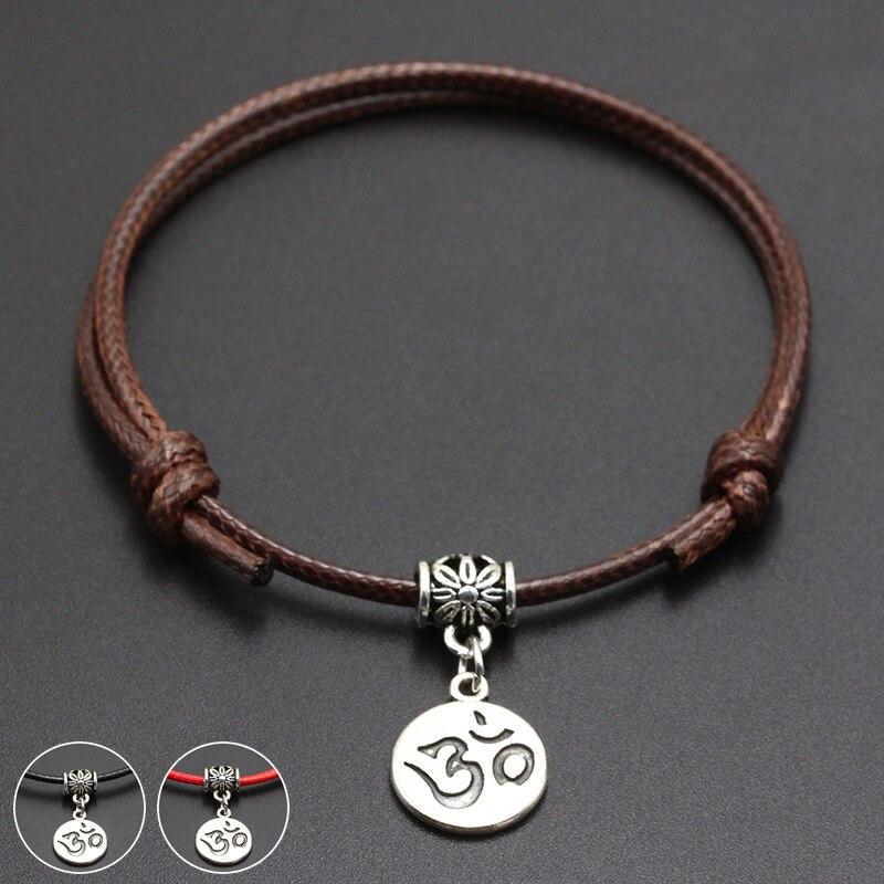 2020 New OM Charms Pendant Red Thread String Bracelet Lucky Black Coffee Handmade Rope Bracelet for Women Men Jewelry