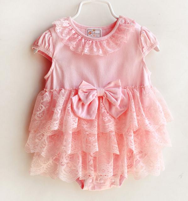 Pink & white one piece baby girl clothing adorável romper de manga curta de verão para recém-nascidos macacões infantis arco-nó vestido de babados