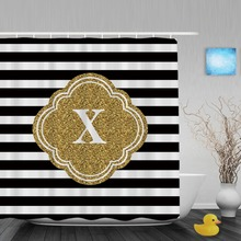 Customized Mod Black White Stripes Shower Curtain Gold Custom Mongram Printing Bathroom Curtains Polyester Fabric With