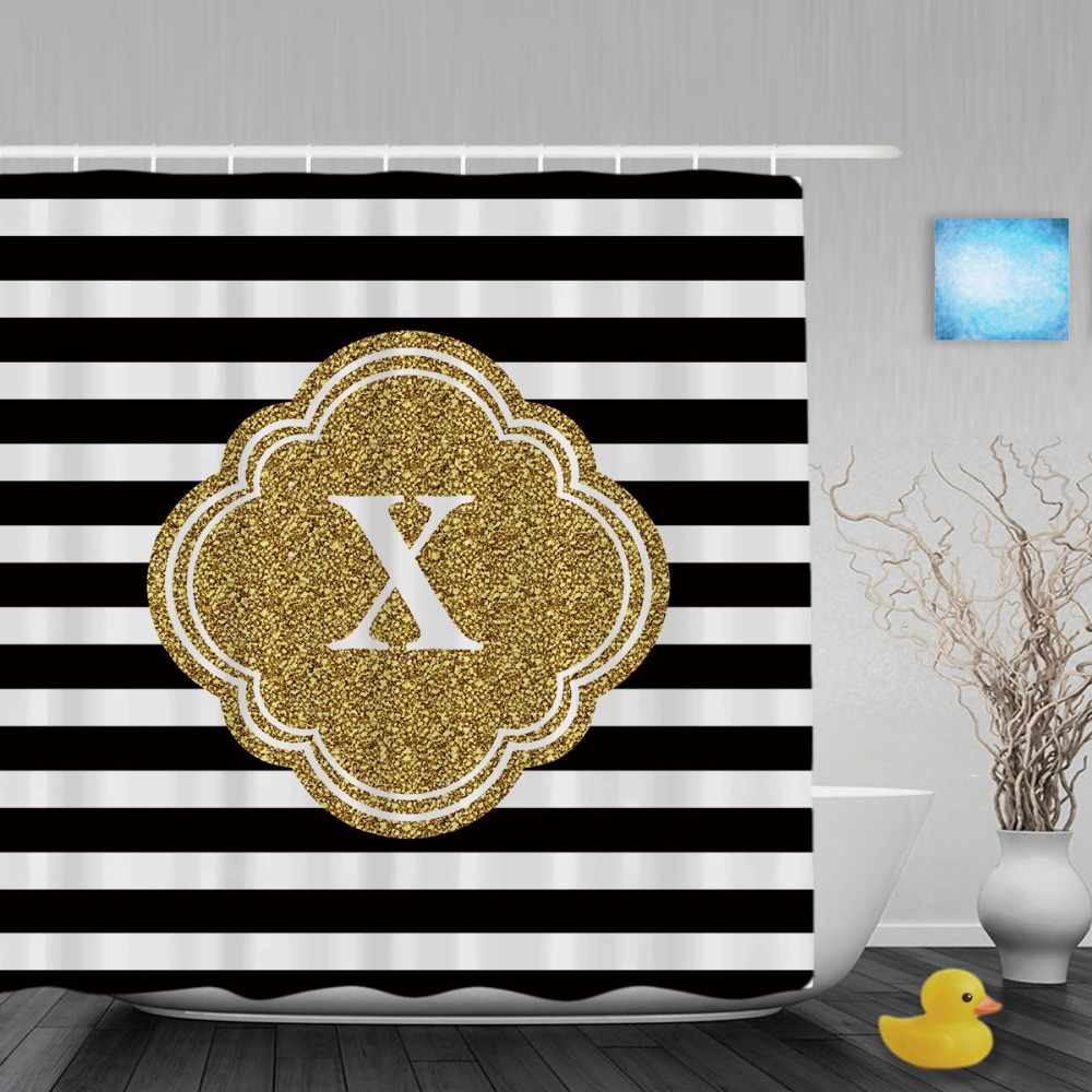 Yellow and black shower curtain - Customized Mod Black White Stripes Shower Curtain Gold Custom Mongram Printing Bathroom Curtains Polyester Fabric With Hooks