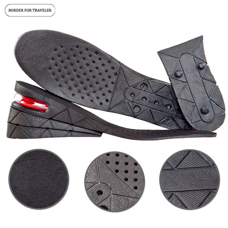 BORDER FOR TRAVELER 3 Layers Adjustable Increased Insoles for Men Women Shoes Pad Height Increase Insole Black Air Cushion Pads expfoot orthotic arch support shoe pad orthopedic insoles pu insoles for shoes breathable foot pads massage sport insole 045