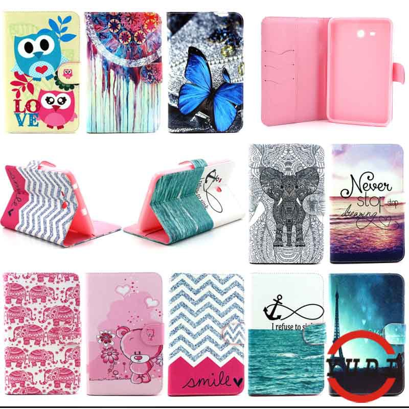 For Samsung Galaxy Tab 3 Lite 7.0 T110 SM-T110 Butterfly& tower elephant PU Leather case cover tablet Accessories Y4D69D
