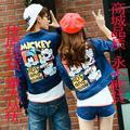 2016 otoño y el invierno nueva moda de Corea pareja de dibujos animados de Mickey Mouse ropa de mezclilla lavada pantalones vaqueros chaqueta