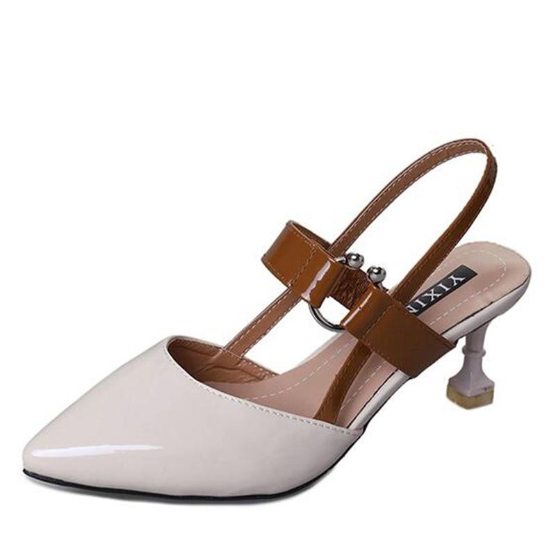 2018 verano nuevas mujeres bombas tobillo correa del talón delgado - Zapatos de mujer