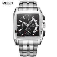 MEGIR الأصلي ساعة رجالية فاخرة الفولاذ المقاوم للصدأ رجالي ساعات يد كوارتز الأعمال الطلب الكبير ساعات المعصم Relogio Masculino 2018