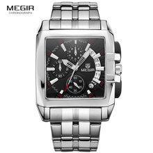 MEGIR מקורי יוקרה גברים שעון נירוסטה Mens קוורץ יד שעונים עסקים גדול חיוג שעוני יד Relogio Masculino 2018