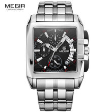 MEGIR Original Luxus Männer Uhr Edelstahl Herren Quarz Handgelenk Uhren Business Große Zifferblatt Armbanduhren Relogio Masculino 2018