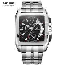 MEGIR orijinal lüks erkek saatleri paslanmaz çelik erkek kuvars bilek saatleri iş büyük arama saatı Relogio Masculino 2018