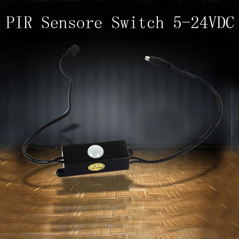 High Quality DC12-24V 4A Mini PIR Motion Sensor Switch with DC plug for LED strip Free Shipping CM055B 5pcs best quality dc plug dc plug long 5 5 2 1mm solder free shipping