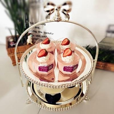 유럽의 웨딩 케이크 스탠드 더블 실버 도금 디스크 오후의 차 심장 판 과자 앉아 룸 기사