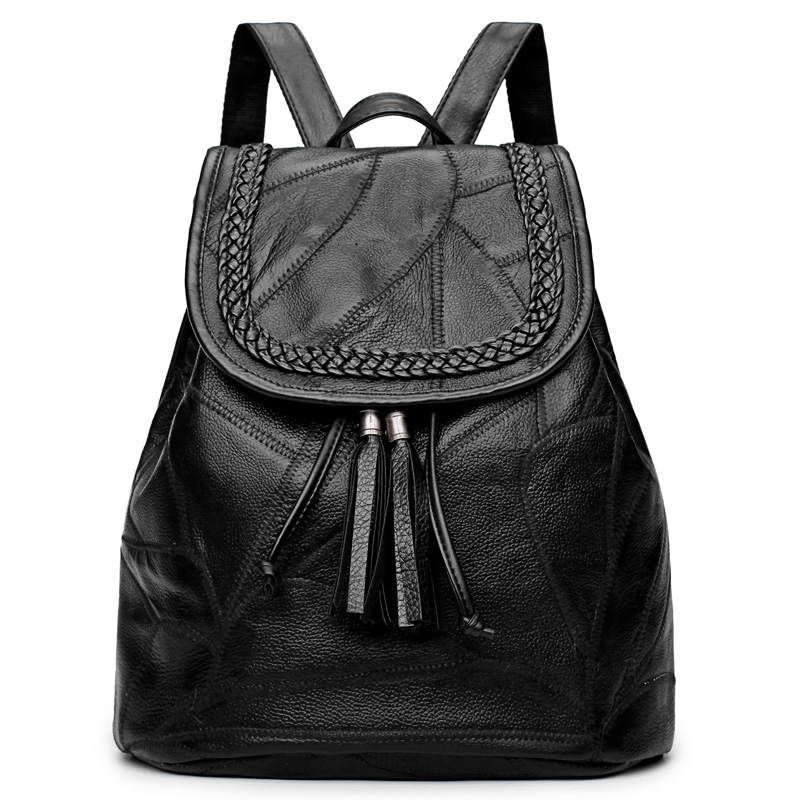 100% Real Leather Backpack Women Black School Bags Cow Leather Backpacks for Teenage Girls Women Travel Bagpack Mochila Feminin fashion women leather backpacks rivet schoolbags for teenage girls female bagpack lady small travel backpack mochila black bags