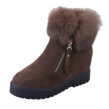 נשים רוכסן מגפי קרסול חדש אופנה בתוספת קטיפה התעצמות מגפי טריז פלטפורמת חורף שלג חם נעלי לנקבה